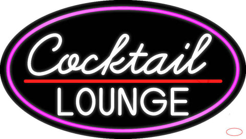 Cursive Cocktail Lounge Oval With Pink Border Real Neon Glass Tube Neon Sign