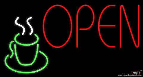 Red Open Coffee Glass Real Neon Glass Tube Neon Sign