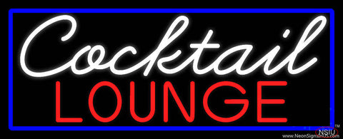 Cursive Cocktail Lounge With Blue Border Real Neon Glass Tube Neon Sign
