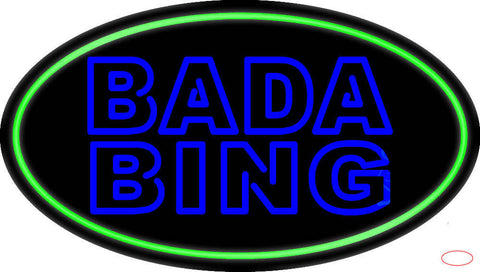 Double Stroke Blue Bada Bing With Green Border Real Neon Glass Tube Neon Sign