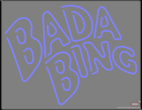 Double Stroke Blue Bada Bing Real Neon Glass Tube Neon Sign