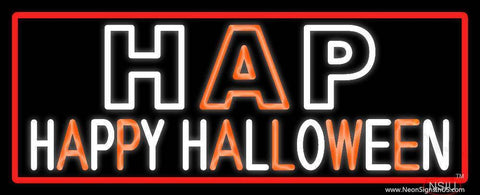 Happy Halloween Block With Red Border Real Neon Glass Tube Neon Sign