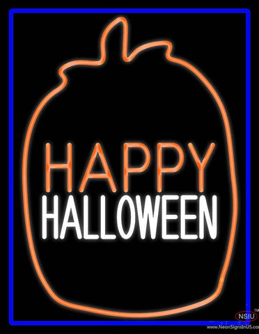 Happy Halloween With Blue Border Real Neon Glass Tube Neon Sign
