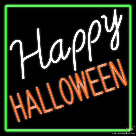 Happy Halloween With Green Border Real Neon Glass Tube Neon Sign