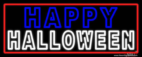 Happy Halloween With Red Border Real Neon Glass Tube Neon Sign