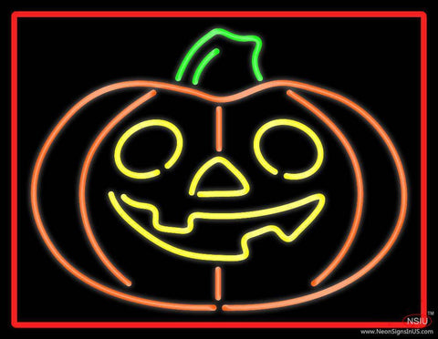 Jack O Lantern Pumkin With Red Border Real Neon Glass Tube Neon Sign