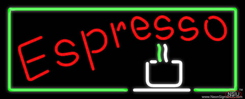 Red Espresso With Green Borders Real Neon Glass Tube Neon Sign