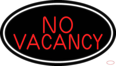 Red No Vacancy With White Border Real Neon Glass Tube Neon Sign