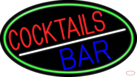 Round Cocktail Bar Real Neon Glass Tube Neon Sign
