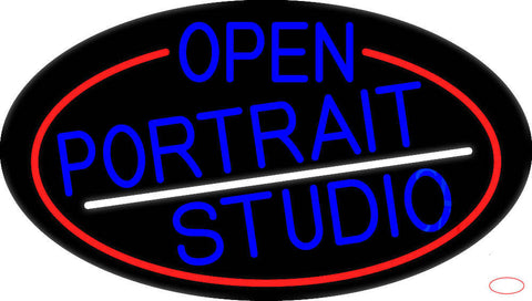 Blue Open Portrait Studio Oval With Red Border Real Neon Glass Tube Neon Sign