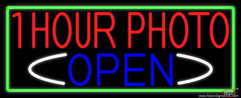One Hour Photo Open With Green Border Real Neon Glass Tube Neon Sign
