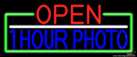 Open  Hour Photo With Green Border Real Neon Glass Tube Neon Sign