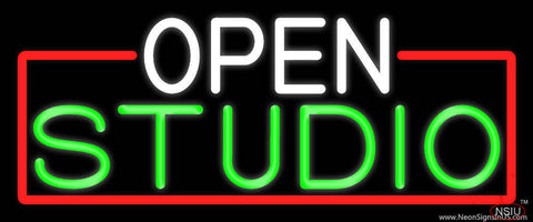 Open Studio With Red Border Real Neon Glass Tube Neon Sign