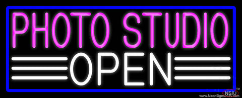 Photo Studio Open With Blue Border Real Neon Glass Tube Neon Sign