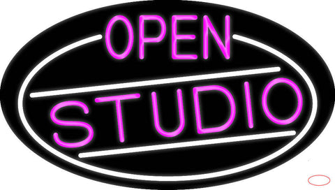 Pink Open Studio Oval With White Border Real Neon Glass Tube Neon Sign