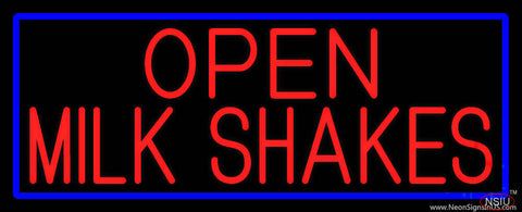 Red Open Milk Shakes With Blue Border Real Neon Glass Tube Neon Sign
