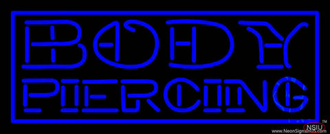 Blue Body Piercing Real Neon Glass Tube Neon Sign