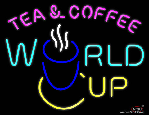 Tea Coffee World Cup Real Neon Glass Tube Neon Sign