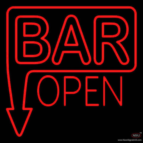 Bar Open With Arrow Red Handmade Art Neon Sign