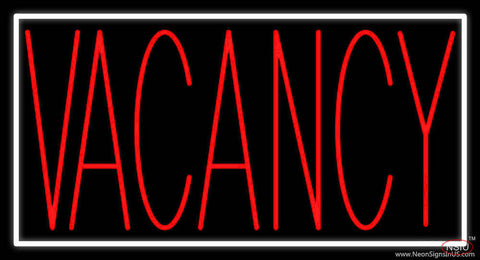 Red Vacancy With White Border Real Neon Glass Tube Neon Sign