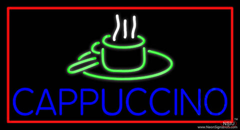 Blue Cappuccino With Red Border Real Neon Glass Tube Neon Sign