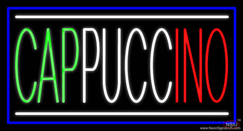 Cappuccino With Blue Border Real Neon Glass Tube Neon Sign