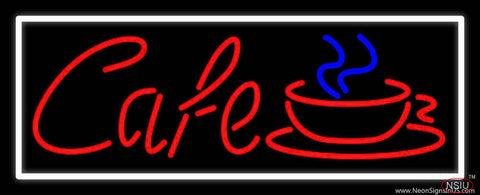 Red Cafe With Cup And Border Real Neon Glass Tube Neon Sign