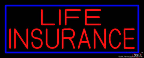 Red Life Insurance Blue Border Real Neon Glass Tube Neon Sign