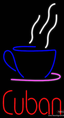 Cuban With Coffee Cup Real Neon Glass Tube Neon Sign