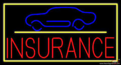 Red Insurance Car Logo with Yellow Border Real Neon Glass Tube Neon Sign