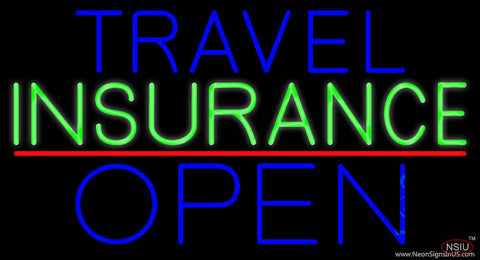 Travel Insurance Open Block Red Line Real Neon Glass Tube Neon Sign