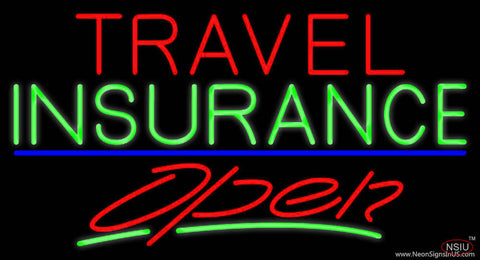 Travel Insurance Open With Blue Line Real Neon Glass Tube Neon Sign
