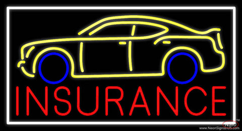 Red Insurance Car Logo With White Border Real Neon Glass Tube Neon Sign