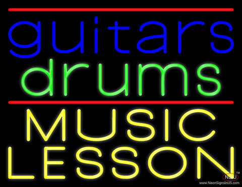 Guitar Drums Music Lesson Real Neon Glass Tube Neon Sign