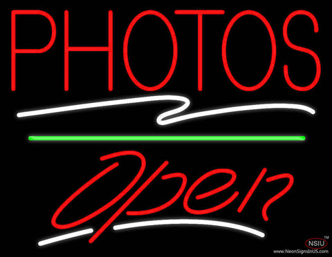 Red Photos Block With Open  Real Neon Glass Tube Neon Sign