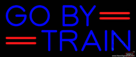 Blue Go By Train Real Neon Glass Tube Neon Sign