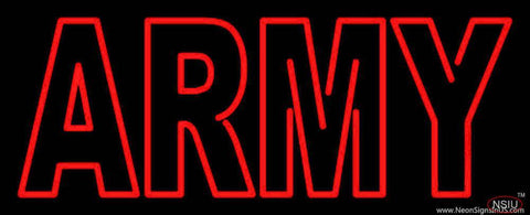 Red Double Stroke Army Handmade Art Neon Sign