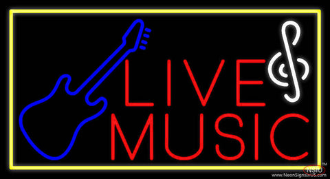 Red Live Music With Guitar Note Real Neon Glass Tube Neon Sign
