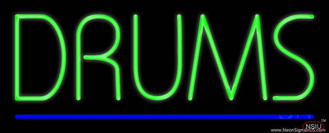 Drums Block Blue Line Real Neon Glass Tube Neon Sign