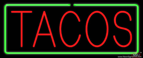 Red Tacos with Green Border Real Neon Glass Tube Neon Sign