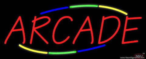 Multicolored Deco Style Arcade Real Neon Glass Tube Neon Sign