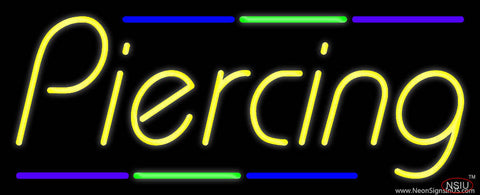 Piercing Multi Colored Line Real Neon Glass Tube Neon Sign