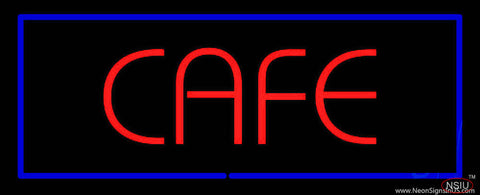 Red Cafe with Blue Border Real Neon Glass Tube Neon Sign