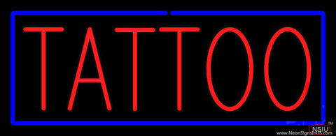 Red Tattoo Blue Border Real Neon Glass Tube Neon Sign