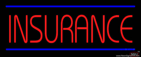 Red Insurance Blue Lines Real Neon Glass Tube Neon Sign