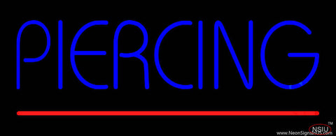 Blue Piercing Red Line Real Neon Glass Tube Neon Sign