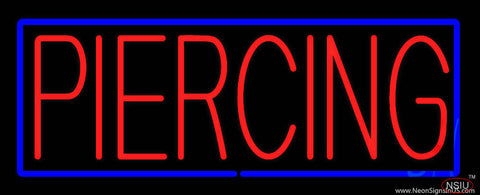 Red Piercing Blue Border Real Neon Glass Tube Neon Sign