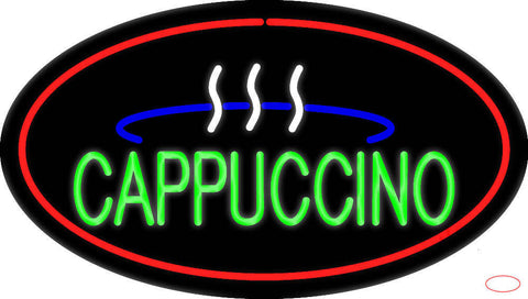 Oval Cappuccino with Red Border Real Neon Glass Tube Neon Sign