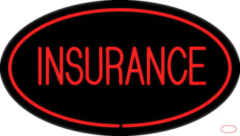 Red Insurance Oval Red Real Neon Glass Tube Neon Sign