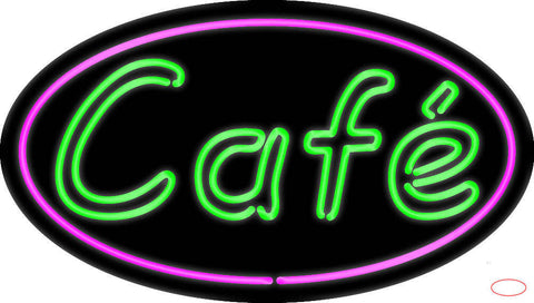 Cafe Oval Real Neon Glass Tube Neon Sign